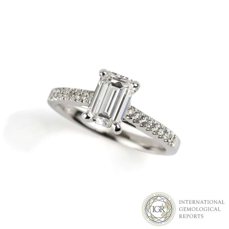 18k White Gold Emerald Cut Diamond Ring 1.07ct F/SI1